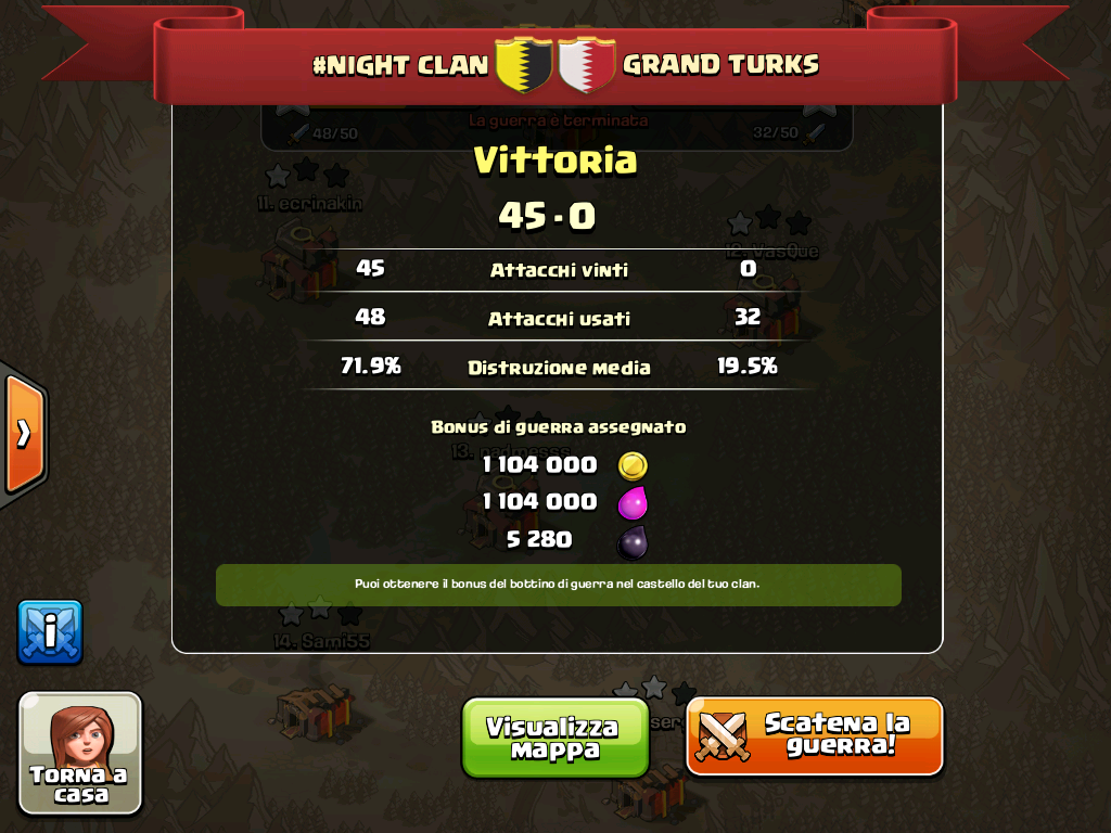 #NIGHT CLAN VS GRAND TURKS